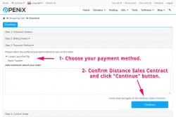 Select the payment method and approve Distance Sales Agreement.